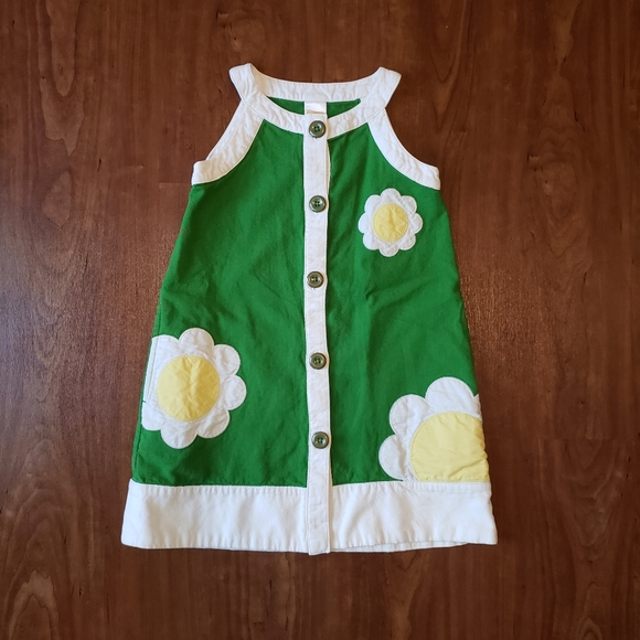 Girls Gymboree 70's Style Green Retro Daisy Button Down Dress Size 5 Flower